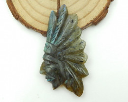 47.5cts Carved Natural Labradorite Gemstone Indian Head Pendant G102