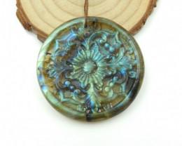 88Cts Vivid Flower Carving,Natural Labradorite Handcarved Flower Necklace P
