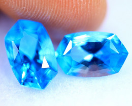 4.10cts Natural AAA Swiss Blue Colour Topaz Pair/ RD1392