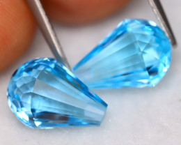 Swiss Blue Topaz 7.33Ct VVS Earring Pair Natural Swiss Blue Topaz A2924