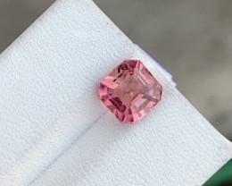 2.70 carats Asscher cut rubellite/pink tourmaline from Afghanistan