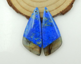 55.5cts Natural Lapis, Labradorite Intarsia Earrings G126