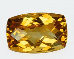 3.96 Cts Natural Golden Orange Citrine 12x8mm Cushion Cut Brazil