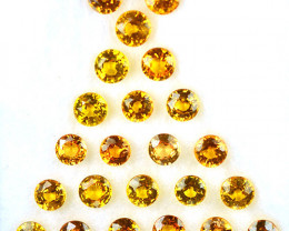 4.62 Cts Natural Orangish Yellow Sapphire 3.5mm Round Cut 23Pcs Madagascar