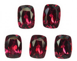 5.35 Cts Natural Pinkish Red Rhodolite Garnet 7x5mm Cushion 5Pcs Mozambiqu