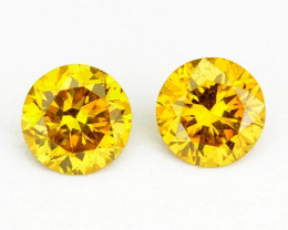 ~SPARKLING~ 0.14 Cts Natural Golden Diamond 2.4mm Round 2Pcs Africa