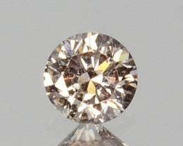 ~UNTREATED~ 0.09 Cts Natural Peach Diamond 2.6mm Round Cut Africa
