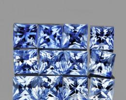 2.50 mm Square Princess 12 pcs 1.14cts Light Blue Sapphire [VVS]