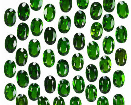 22.54 Cts Natural Vivid Green Chrome Diopside 6x4mm Oval 47Pcs Russia