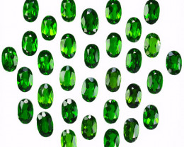 11.12 Cts Natural Vivid Green Chrome Diopside 6x4mm Oval 32Pcs Russia