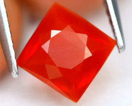 Fire Opal 1.25Ct VVS Square Cut Natural Red Mexican Fire Opal A3123