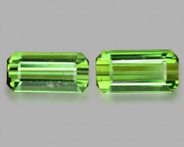 3.86 Cts 2pcs  Un Heated Green Color Natural Tourmaline Loose Gemstone