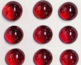 5.00 mm Round Cabochon 9pcs 7.60cts Red Garnet [VVS]