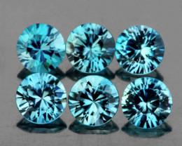 4.00 mm Round 6 pcs 2.47cts Blue Zircon [VVS]