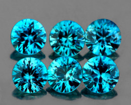 4.00 mm Round 6 pcs 2.45cts Intense Blue Zircon [VVS]