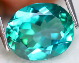 Green Topaz 5.66Ct VVS Oval Cut Natural Vivid Leaf Green Topaz B0102
