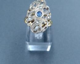 Antique Saphire Ring White Gold 19th century