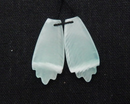 31cts Hand Carved Natural Feather shaped earrings beads G150
