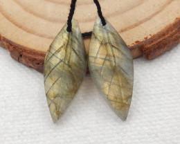 13ct Beautiful labradorite carved leave earrings semi-precious stones G159