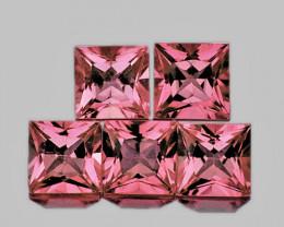 4.00 mm Square Princess 5pcs 1.71cts Orange Pink Tourmaline [VVS]