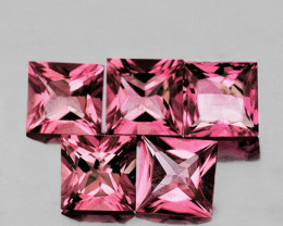 4.00 mm Square Princess 5 pcs 1.65cts Pink Tourmaline [VVS]