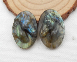 56.5cts Carved Labradorite Earring Pair,Fashion Jewelry G176