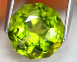 Peridot 4.21Ct Precision Master Cut Natural Neon Green Peridot AN0215
