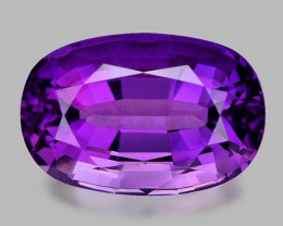 Flawless, natural precision oval cut rich purple amethyst.