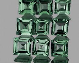 2.50 mm Square 9pcs 1.14cts Unheated Green Sapphire [VVS]