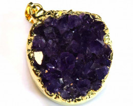66CTS AMETHYST CRYSTAL GOLD PLATED PENDANT SG-3478