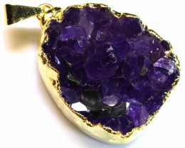 72CTS AMETHYST CRYSTAL GOLD PLATED PENDANT SG-3481