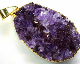 38CTS AMETHYST CRYSTAL GOLD PLATED PENDANT SG-3488
