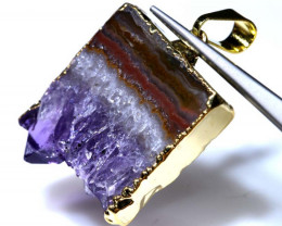 30.45 CTS AMETHYST CRYSTAL GOLD PLATED PENDANT SG-3500