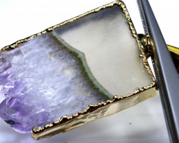 33 CTS AMETHYST CRYSTAL GOLD PLATED PENDANT SG-3501