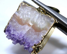 25 CTS AMETHYST CRYSTAL GOLD PLATED PENDANT SG-3507