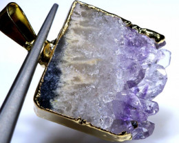 25 CTS AMETHYST CRYSTAL GOLD PLATED PENDANT SG-3515