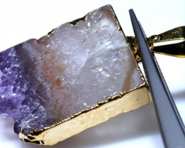 34.85 CTS AMETHYST CRYSTAL GOLD PLATED PENDANT SG-3520