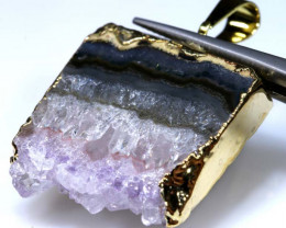 36.55 CTS AMETHYST CRYSTAL GOLD PLATED PENDANT SG-3524