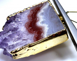 42.80 CTS AMETHYST CRYSTAL GOLD PLATED PENDANT SG-3527