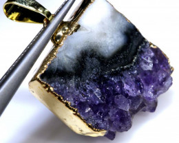 28.75 CTS AMETHYST CRYSTAL GOLD PLATED PENDANT SG-3528