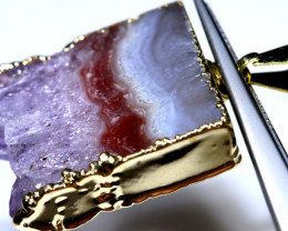 43 CTS AMETHYST CRYSTAL GOLD PLATED PENDANT SG-3531