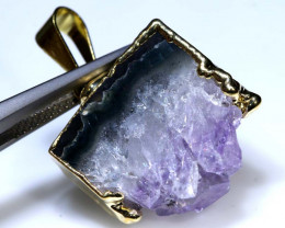 23 CTS AMETHYST CRYSTAL GOLD PLATED PENDANT SG-3538