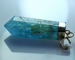 29.80 Cts Unheated ~ Natural Aquamarine Pendant With Silver Cap