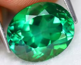 Green Topaz 5.31Ct VVS Oval Cut Natural Vivid Leaf Green Topaz B0304
