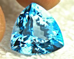 14.2 Carat Trillion Cut Blue Brazil Topaz - Gorgeous