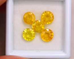 4.88ct Natural Yellow Sapphire Round Cut Lot GW7083