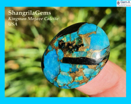 25mm blue mojave calcite cabochon oval 25 by 19 by 4.5mm 19ct
