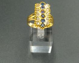 """Diamond & Sapphire. Gold Ring 1920""""s"""