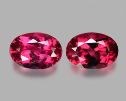 1.67 Cts 2pcs Un Heated CHERRY RED Color Natural Rubellite  Loose Gemstone
