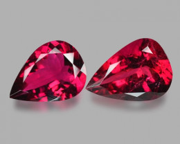 2.74 Cts 2pcs Un Heated CHERRY RED Color Natural Rubellite  Loose Gemstone